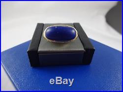 Vintage Men's 14k Yellow Gold Ring with Cabochon Lapis Stone sz 9 7.2gms