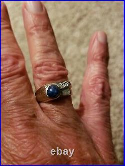 Vintage Men's 14kt White Gold Star Sapphire & Diamond Men's Ring Amazing