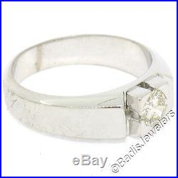 Vintage Men's 18K White Gold 0.58ct Round Brilliant Diamond Solitaire Ring Band