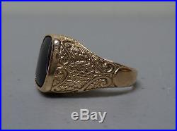 Vintage Men's 18k Gold Baroqu E Style Ring, Black Obsidian Stone, Size 11.75