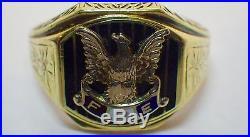 Vintage Men's 1930's 14K Fraternal Order of Eagles FOE Ring 9.6 Grams Size 9.5