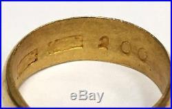 Vintage Men's 24k Yellow Gold Wedding Band Size 8 Mans Ring Pure 7.5 Grams
