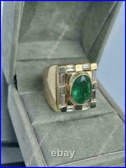 Vintage Men's 4ct Oval Green Emerald & Diamond Pinky Ring 14K Yellow Gold Over