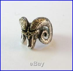 Vintage Men's Konstantino Ram's Head Ring 18k Yellow Gold Sterling Silver Size 9