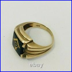 Vintage Men's Masonic Solid 10k Yellow Gold Ring Art Deco Size 8 Faux Onyx 5.1g