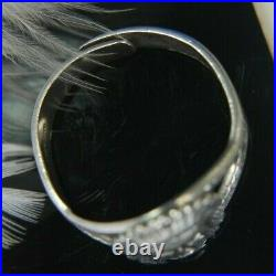 Vintage Men's Native Chief Face 0.925 Sterling Silver Ring size 10 adjustable