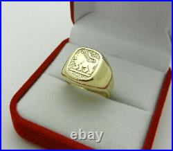 Vintage Men's Pinky Ring in Solid 14K Yellow Gold Lion Signet size 8, 6.1 grams