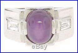 Vintage Men's Platinum 9.60ctw GIA Purple Star Sapphire & Baguette Diamond Ring