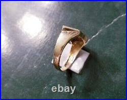 Vintage Men's Poker Cards 10k Gold, Diamond & Enamel Ring / Sz 10