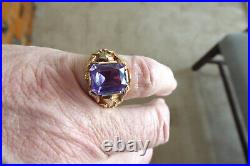 Vintage Men's Solid 10k Yellow Gold Color Change Alexandrite Ring Sz 8.75 Ring