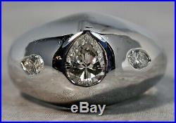 Vintage Men's Solid 14K White Gold 1.20ctw Diamond Pinky Ring