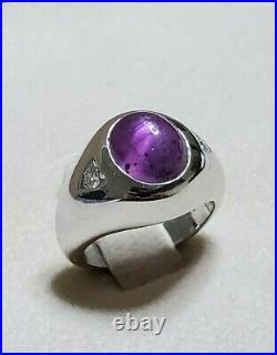 Vintage Men's Star Ruby Cabochon Ring 14K White Gold Diamonds