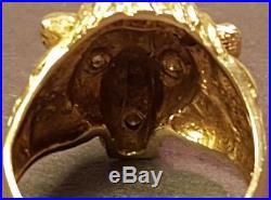 Vintage Men's StyleCrest 14k Gold Lion Head Ring Style Crest with three diamonds