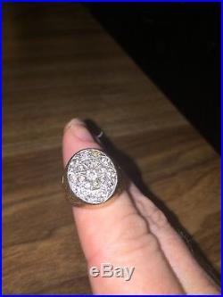 Vintage Men's gold 10k cluster diamond ring. Sz 11 approx. 1 ctw Gorgeous