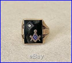 Vintage Mens 10K Gold Masonic Mason Signet Ring Rectangle Face Onyx Diamond
