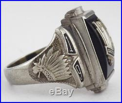 Vintage Mens 10K White Gold 1964 Capitol Hill High School Ring Oklahoma City