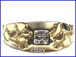Vintage Mens 10K Yellow Gold Diamond Nugget Ring Size 10.25