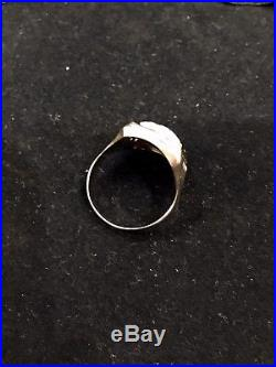 Vintage Mens 10k Black & White Cameo Ring Wear Not Scrap