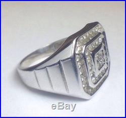 Vintage Mens 10k White Gold. 48 Carat Diamond Ring Sz 9.75 Square Band