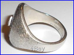 Vintage Mens 10k White Gold Black Onyx Ring With Diamond (30ql)
