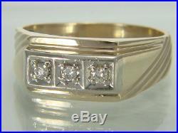 Vintage Mens 10k Yellow Gold 3 Stone Diamond Ring 5.7 gms Size 12.5
