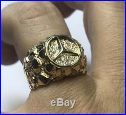 Vintage Mens 10k Yellow Gold Mercedes Benz Nugget Ring Mans Band Symbol Size 7