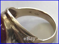 Vintage Mens 10k Yellow Gold Natural Ruby And Diamond Ring