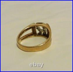 Vintage Mens 14K Gold Initial Ring R In Diamonds Size 9 Las Vegas Jeweler