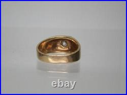 Vintage Mens 14k Gold &. 5 ct. Diamond Solitaire Wide Band Ring size 11.5