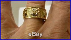 Vintage Mens 14k Gold Masonic Eternity Enamel Band Ring 7-symbols Size 10 1/4