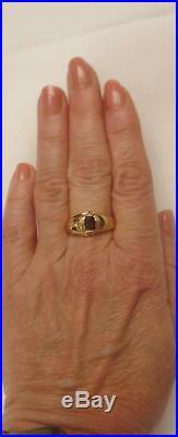 Vintage Mens 14k Gold Ruby Red Natural Rubellite Tourmaline+Diamond RingSz 9.5
