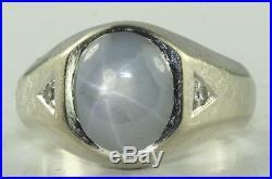 Vintage Mens 14k White Gold 4.5 Carat Natural Star Sapphire Diamond Ring Size 11