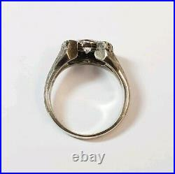 Vintage Mens 14k White Gold High Quality 1.10CT Diamond Horseshoe Ring Size 9.25