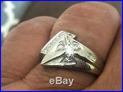 Vintage Mens 14k White gold and Diamond Ring