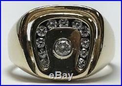 Vintage Mens 14k Yellow Gold Horseshoe Diamond Ring Good Luck Mans Size 12 10G