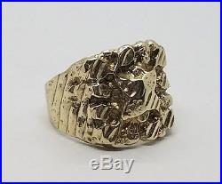Vintage Mens 14k Yellow Gold Nugget Detailed Ring Size 8.75