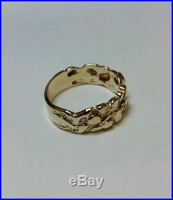 Vintage Mens 14k Yellow Gold Nugget Ring 7.7 Grams Size 10 1/4