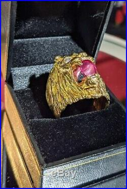 Vintage Mens 14k gold Diamond & Ruby Lions Head Ring 17.45 Gr. Weight
