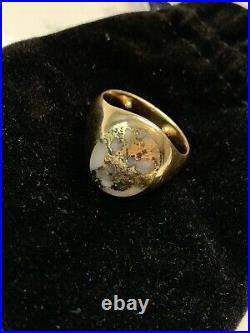 Vintage Mens 14k ring gold in quartz 11 grams gold bearing quartz, agate, nugget