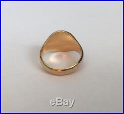 Vintage Mens 18ct Gold Heraldic Intaglio Lion Seal Ring 1962