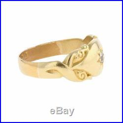 Vintage Mens 1907 22ct Yellow Gold 0.10cts Diamond Signet Ring Size O
