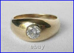Vintage Mens 1.00 CT Round Cut Diamond Solitaire Pinky Ring 14K Yellow Gold Over