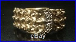Vintage Mens 9ct Solid Gold Diamond Keeper & Buckle Gents Ring Size U