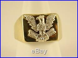 Vintage Mens Boys Solid 9ct Yellow & DIAMOND Gold EAGLE SIGNET RING Sz R Hm 27b