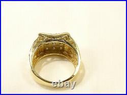 Vintage Mens Brutalist Modernist 14 K Gold 9 Diamond Wide Branch Sz 6 Ring