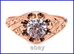 Vintage Mens Engagement Wedding Cocktail Ring 1ct 14K Shell Antique Victorian