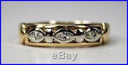 Vintage Mens Mans Ring or Wedding Band 14K Gold 3 Diamonds Size 10 c1940s-50s