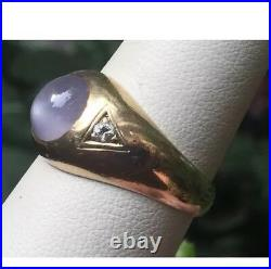 Vintage Mens Natural Purple Violet Star Sapphire Ring WithDiamonds 14k Gold Heavy