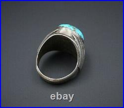 Vintage Mens Navajo Sterling Silver Natural Turquoise Ring Size 11.25 20g RS2834