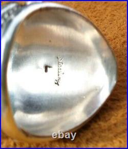 Vintage Mens Navajo Sterling Silver Turquiose Petite Point Ring Sz 11.25 12.8 Gr